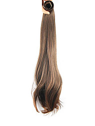 cheap -20 inch Honey Brown Clip In Straight Ponytails Elastic Wrap Around Synthetic Hair Piece Hair Extension