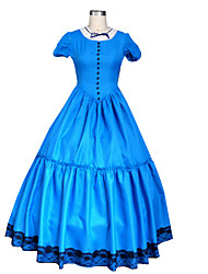Cosplay Costumes Princess Fairytale Movie Cosplay Blue Solid Dress Gloves Halloween Christmas New Year Female Chiffon Uniform Cloth