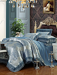 cheap -Silver Blue Queen King Size Bedding Set Luxury Silk Cotton Blend Lace Duvet Cover Sets Jacquard Pattern