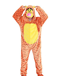cheap -Kigurumi Pajamas Tiger Onesie Pajamas Costume Polar Fleece Orange Cosplay For Adults' Animal Sleepwear Cartoon Halloween Festival /