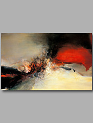"""Stretched (Ready to hang) Hand-Painted Oil Painting 36""""x24"""" Canvas Wall Art Modern Abstract Red Beige Black"""