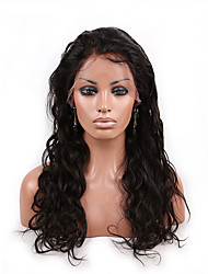 cheap -Indian Human Virgin Hair Front Lace Wig 130% Density Natural Color Long Body Wave Lace Wigs