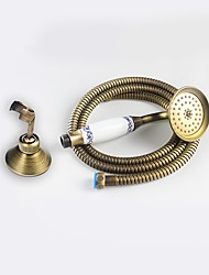 cheap -Antique Brass Blue And White Hand Shower with Shower Holder 1.5M hose Set