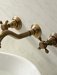 cheap -Bathroom Sink Faucet - Widespread Antique Brass Wall Mounted Three Holes Two Handles Three Holes