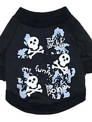 Katzen / Hunde T-shirt Schwarz Hundekleidung Sommer / Frühling/Herbst Totenkopf Motiv Modisch