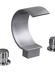 Vasca e doccia Cascata Tre Due maniglie Tre fori for  Nickel spazzolato , Lavandino rubinetto del bagno