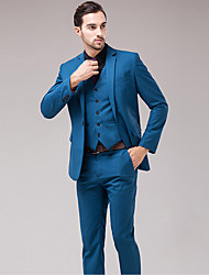 cheap -Men's Long Sleeve Regular Blazer+Pant+Vest Set,Cotton / Acrylic / Polyester Solid 916216