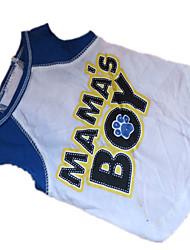 baratos -Cachorro Camiseta Roupas para Cães Carta e Número Branco / azul Algodão Ocasiões Especiais Para animais de estimação