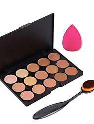 15 Colors Contour Face Cream Makeup Concealer Palette + Sponge Puff Powder Brush for Concealer Foundation Blusher