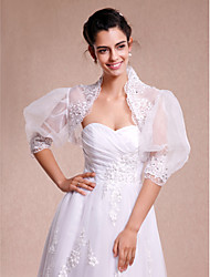 Wedding  Wraps Shrugs 3/4-Length Sleeve Lace Organza White Wedding Party/Evening Casual Lace Open Front