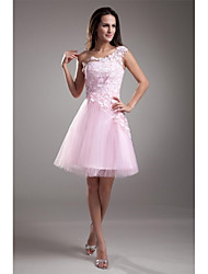 cheap -A-Line Princess One Shoulder Short / Mini Tulle Cocktail Party Homecoming Prom Dress with Appliques Lace by TS Couture®