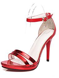 baratos -Feminino Sapatos Couro Envernizado Primavera Verão Salto Agulha Plataforma Para Casamento Social Festas & Noite Vermelho Bronze Dourado