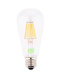 abordables -E26/E27 Bombillas de Filamento LED ST64 8 leds COB Decorativa Blanco Cálido 700-800lm 2800-3200K AC 85-265 AC 100-240 AC 110-130V