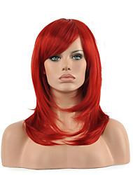 abordables -Femme Perruque Synthétique Mi Longue Droite Rouge Perruque Déguisement