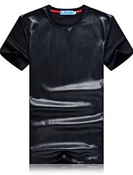 Herren T-shirt-Patchwork Freizeit / Sport PU / Baumwolle Kurz-Schwarz