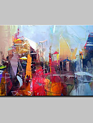 cheap -Hand Painted Modern Abstract City Landscape Oil Painting On Canvas Wall Art With Stretched Frame Ready To Hang