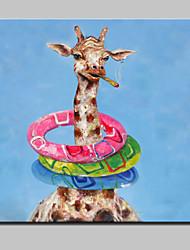 baratos -mão grande pintura a óleo animal arte lona imagens parede pintada salva-vidas girafa para a decoração da casa com quadro