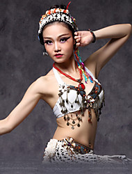 cheap -Belly Dance Tops Women's Performance Cotton / Polyester Beading / Coin / Flower Top