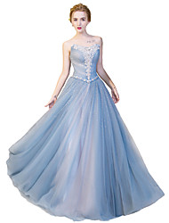 cheap -Ball Gown Strapless Floor Length Satin / Tulle / Stretch Satin Formal Evening Dress with Crystals by
