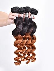billige -4 pakker Brasiliansk hår Løst, bølget hår Nuance Menneskehår Vævninger Menneskehår Extensions