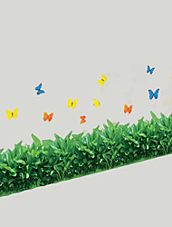 cheap -Skirting Line Stairs Glass Grass With Butterfly Wall Stickers PVC Removable Wall Decals