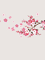 Chinese Style Peach Blossom Flower Wall Stickers DIY Environmental Living Room Wall Decals