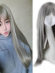 Long Straight Cosplay Synthetic Hair Wig Granny Grey Full Bang Heat Resistant
