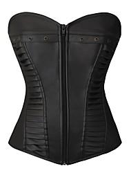 abordables -Zip Corset Femme Couleur Pleine - Moyen Polyuréthane Polyester Nylon Noir