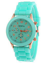 cheap -Women's Quartz Wrist Watch Chronograph Silicone Band Sparkle / Fashion Black / White / Blue / Red / Orange / Brown / Green / Pink /