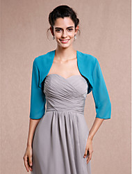 Women's Wrap Shrugs 3/4-Length Sleeve Chiffon Jade Wedding Party/Evening