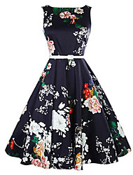 Women's Casual/Daily Vintage A Line Dress,Floral Round Neck Knee-length Sleeveless Blue Cotton Summer Mid Rise Micro-elastic