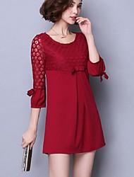 Feminino Solto Vestido,Para Noite Tamanhos Grandes Moda de Rua Sólido Decote Redondo Acima do Joelho Poliéster Verão Cintura Alta