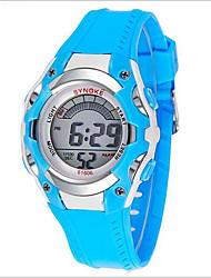 SYNOKE Enfant Montre de Sport Montre Bracelet Numérique LCD Calendrier Chronographe Etanche penggera Lumineux Caoutchouc Bande Bleu