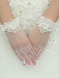 Silke Elastisk satin Håndledslængde Handske Brudehandsker