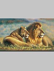 cheap -Large Lion King Oil Painting Animal Landscape Picture Print On Cotton Canvas One Panel Ready to Hang