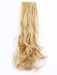 20 tommer Beige Blond Clips på Bølget Krøllet Hestehaler Opbinding Syntetisk Hårstykke Hårpåsætning