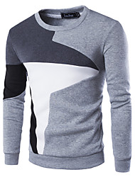 Men's Casual/Daily Simple Sweatshirt Color Block Patchwork Round Neck Cotton Polyester Long Sleeve Fall