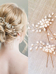 Women's Pearl / Crystal Headpiece-Wedding / Special Occasion Jewelry Hair Stick   2 Pieces