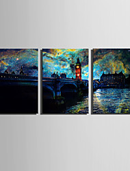 cheap -E-HOME® Stretched LED Canvas Print Art  European Urban Landscape LED Flashing Optical Fiber Print Set of 3