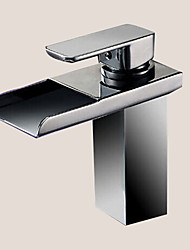 cheap -Personalized Bathroom Sink Faucet Contemporary Chrome Finish Brass Single Handle Waterfall with LED Light