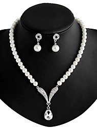 cheap -Women's Imitation Pearl Rhinestone Silver Plated Jewelry Set Earrings Necklace - White Necklace / Earrings For Wedding Party Daily