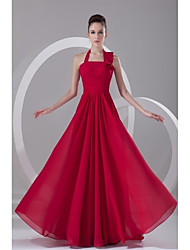 A-Line Halter Sweep / Brush Train Chiffon Formal Evening Dress with Pleats by TS Couture®