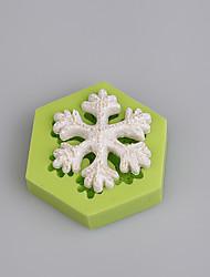 abordables -fonddant herramientas de decoración de pasteles 3d copo de nieve navidad molde de silicona de color al azar