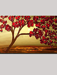 Stretched (ready to hang) Hand-painted Oil Painting Moon Red Flower Blossom Tree of Life Wall Art