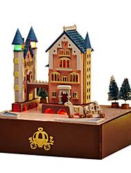 Недорогие -Чи весело дом поделки хижина новый замок вращающийся узел каретки вручную музыкальная шкатулка день Святого Валентина подарок для отправки