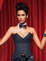 cheap -YUIYE® Women Blue Sexy Lingerie Waist Training Corset Bustier Tops Shapewear Jean Overbust Corset Plus Size S-2XL