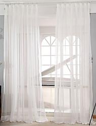 baratos -Dois Painéis Moderno Sólido Branco Sala de Estar Poli/Mistura de Algodão Sheer Curtains Shades