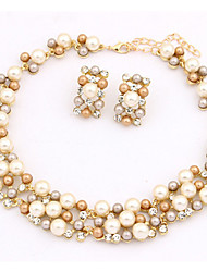 cheap -Women's Pearl Imitation Pearl Gold Pearl Jewelry Set Earrings Necklace - Cute Party Work European White Rainbow Jewelry Set Necklace /