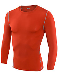 Men's Running T-Shirt Long Sleeves Quick Dry Breathable Compression Sweat-wicking Running Ultra Light (UL) Sweat-Wicking High Elasticity