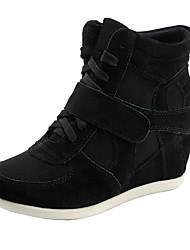 Žene Cipele Koža Til Proljeće Jesen Udobne cipele Wedge Heel Vezanje Mat selotejp za Atletski Kauzalni Vanjski Crn Bež Fuksija